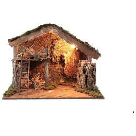 Wooden stable lighted hay decor 45x60x35 cm nativity 12 cm s1