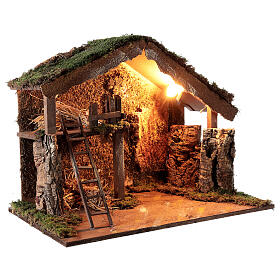 Wooden stable lighted hay decor 45x60x35 cm nativity 12 cm s3