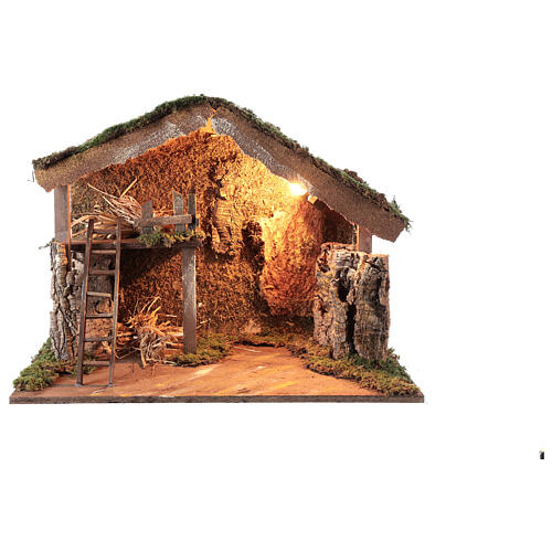 Wooden stable lighted hay decor 45x60x35 cm nativity 12 cm 1