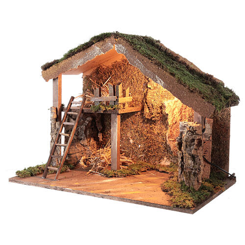 Wooden stable lighted hay decor 45x60x35 cm nativity 12 cm 2