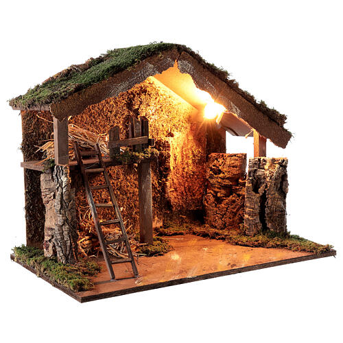 Wooden stable lighted hay decor 45x60x35 cm nativity 12 cm 3