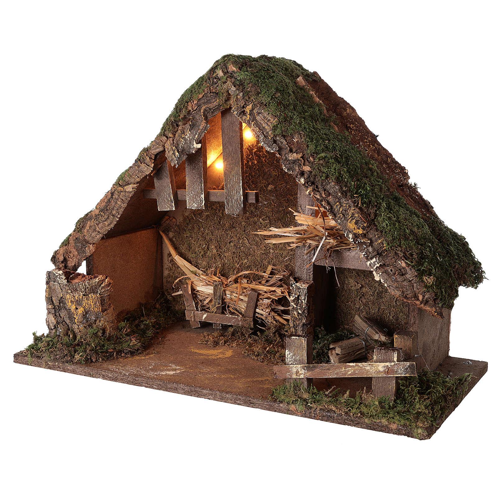 Illuminated manger stable, 14 cm nativity 35x50x25 cm 4