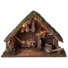 Illuminated manger stable, 14 cm nativity 35x50x25 cm s1
