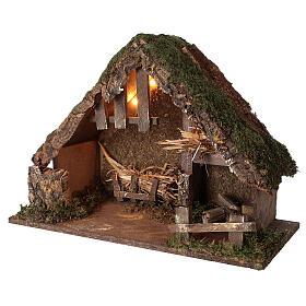 Illuminated manger stable, 14 cm nativity 35x50x25 cm s2