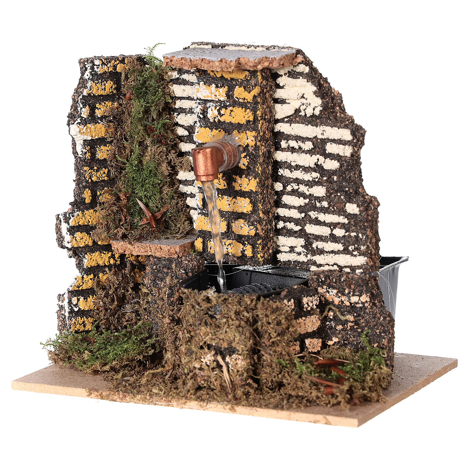 Working fountain cork wall 10x15x10 cm nativity 10 cm 4