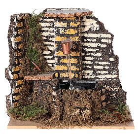 Working fountain cork wall 10x15x10 cm nativity 10 cm s1