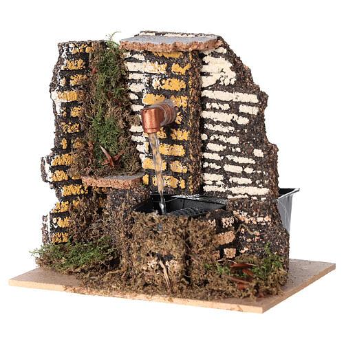 Working fountain cork wall 10x15x10 cm nativity 10 cm 2