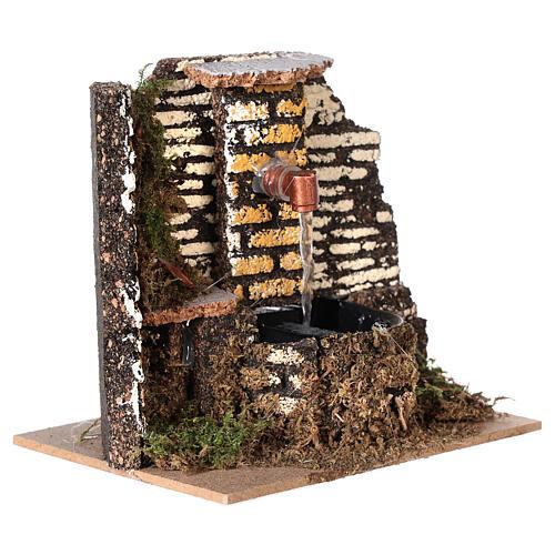 Working fountain cork wall 10x15x10 cm nativity 10 cm 3