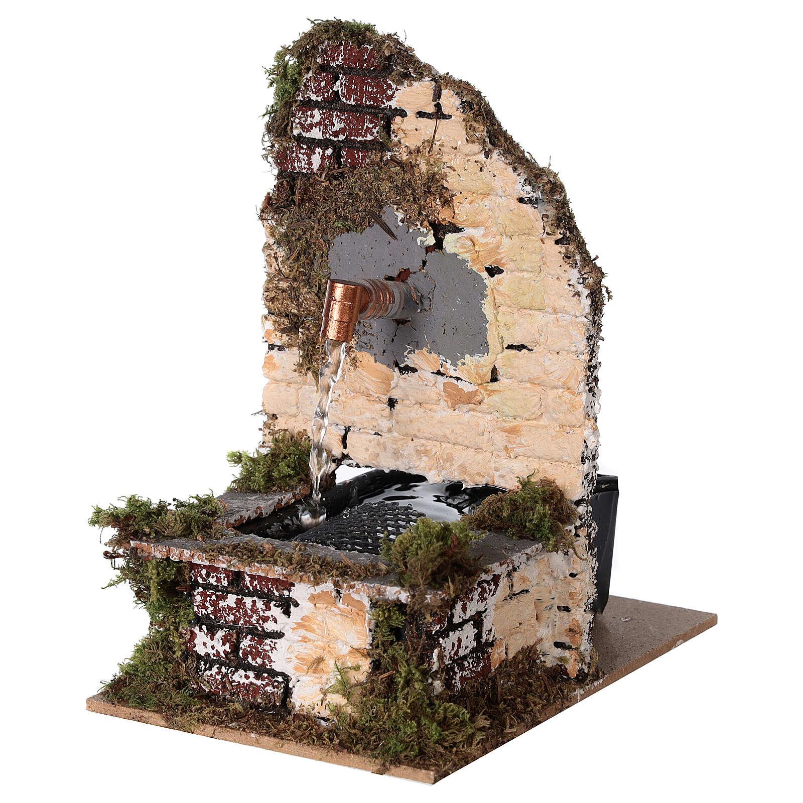 Fontana funzionante rustica muro sughero 15x10x15 presepe 12-14 cm 4