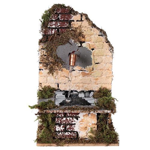 Fontana funzionante rustica muro sughero 15x10x15 presepe 12-14 cm 1