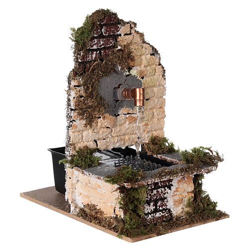 Fontana funzionante rustica muro sughero 15x10x15 presepe 12-14 cm 3