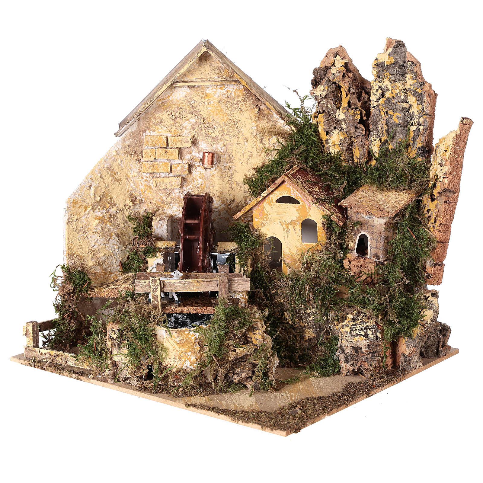 Watermill sheep nativity village 25x25x20 cm for 6 cm figures 4