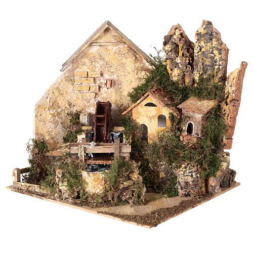 Watermill sheep nativity village 25x25x20 cm for 6 cm figures 3