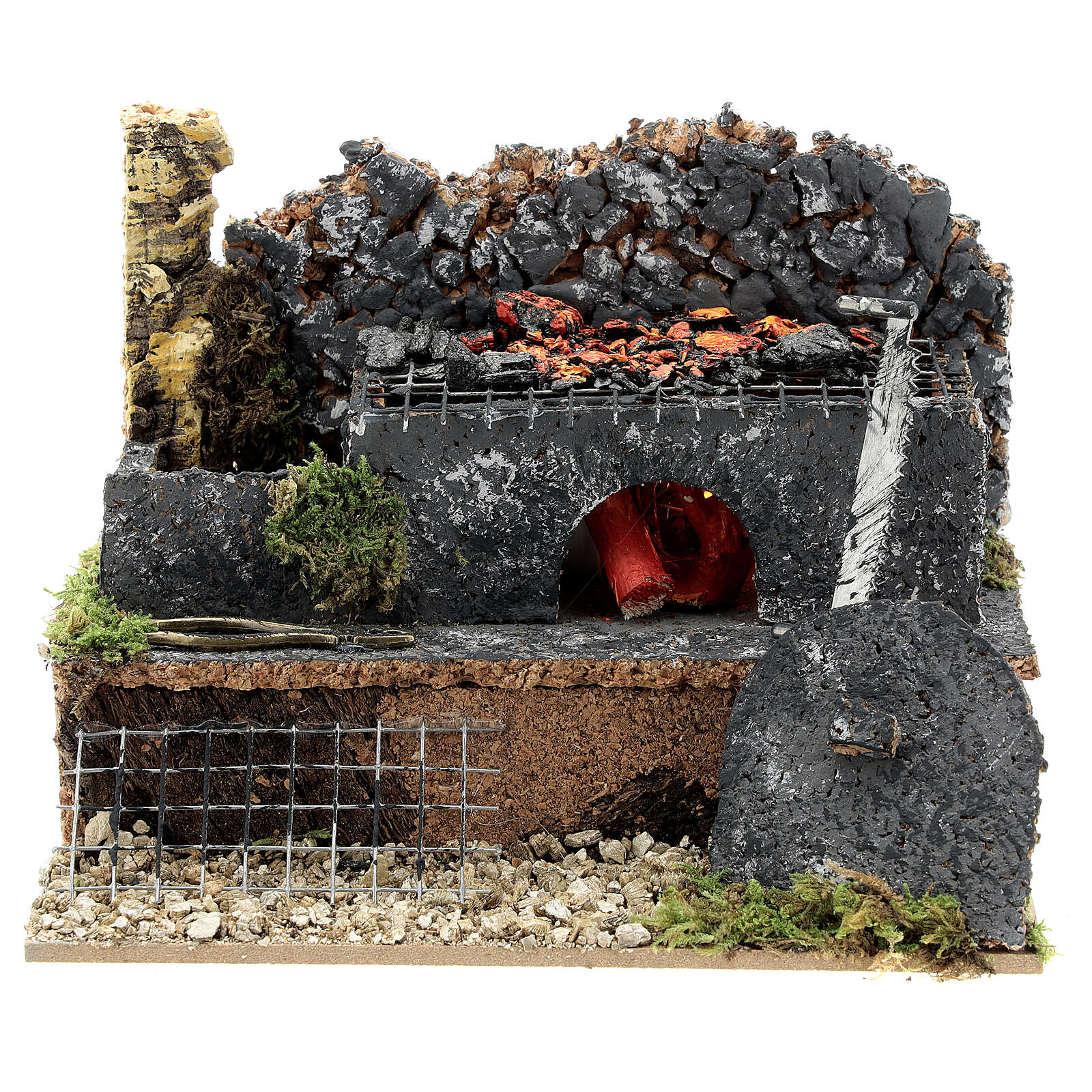 Mini forge for 14-16 cm nativity real fire effect 10x15x10 cm 4