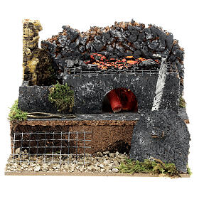 Mini forge for 14-16 cm nativity real fire effect 10x15x10 cm s1