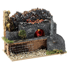Mini forge for 14-16 cm nativity real fire effect 10x15x10 cm s2