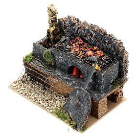 Mini forge for 14-16 cm nativity real fire effect 10x15x10 cm s4