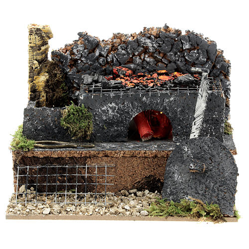Mini forge for 14-16 cm nativity real fire effect 10x15x10 cm 1