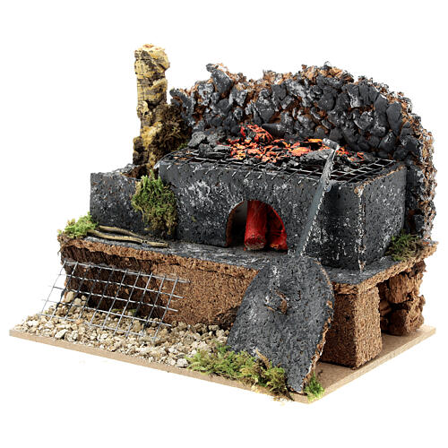Mini forge for 14-16 cm nativity real fire effect 10x15x10 cm 3