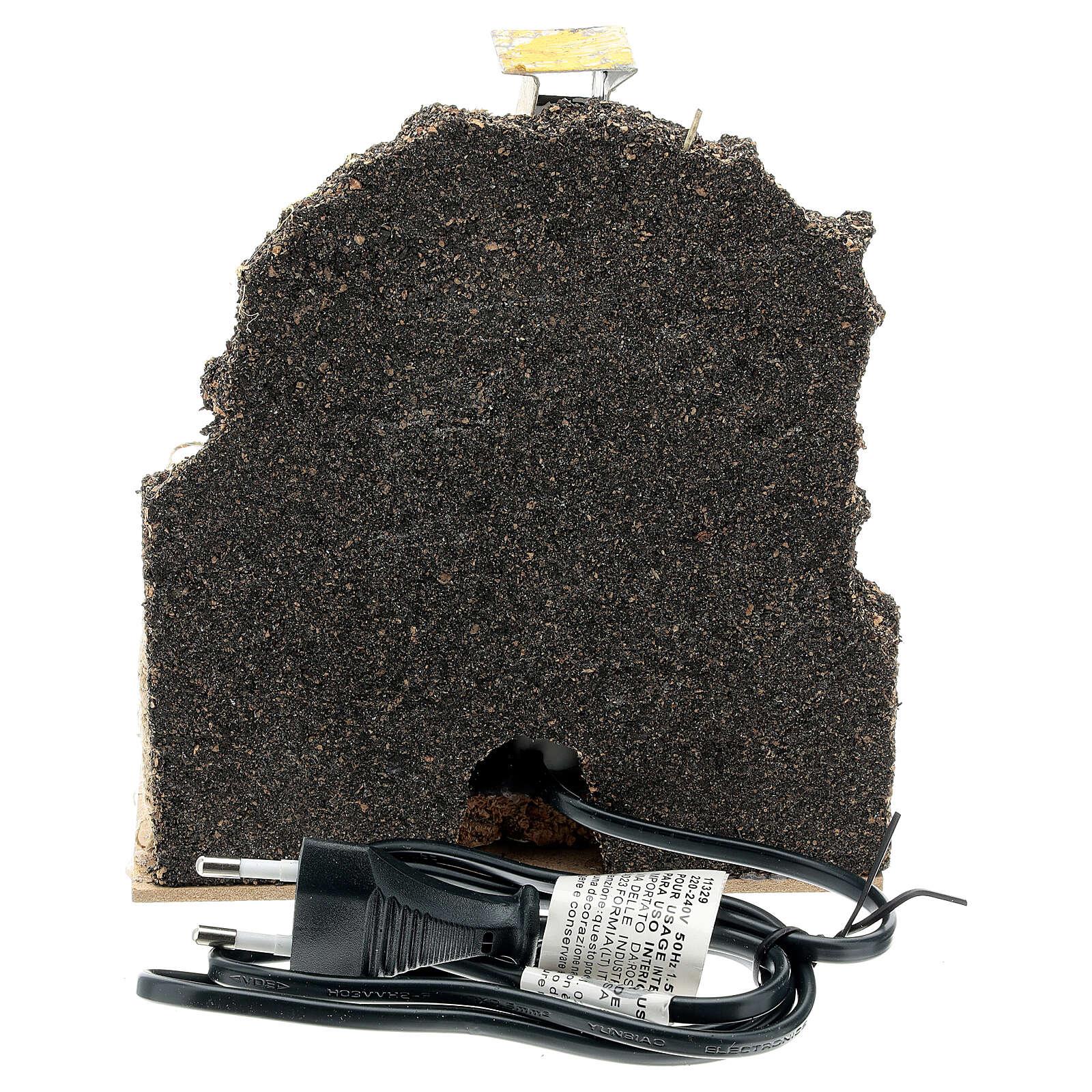 Four bois maçonnerie ampoule effet flamme 15x15x10 cm crèche 12-14 cm 4