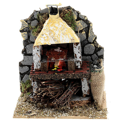 Four bois maçonnerie ampoule effet flamme 15x15x10 cm crèche 12-14 cm 1