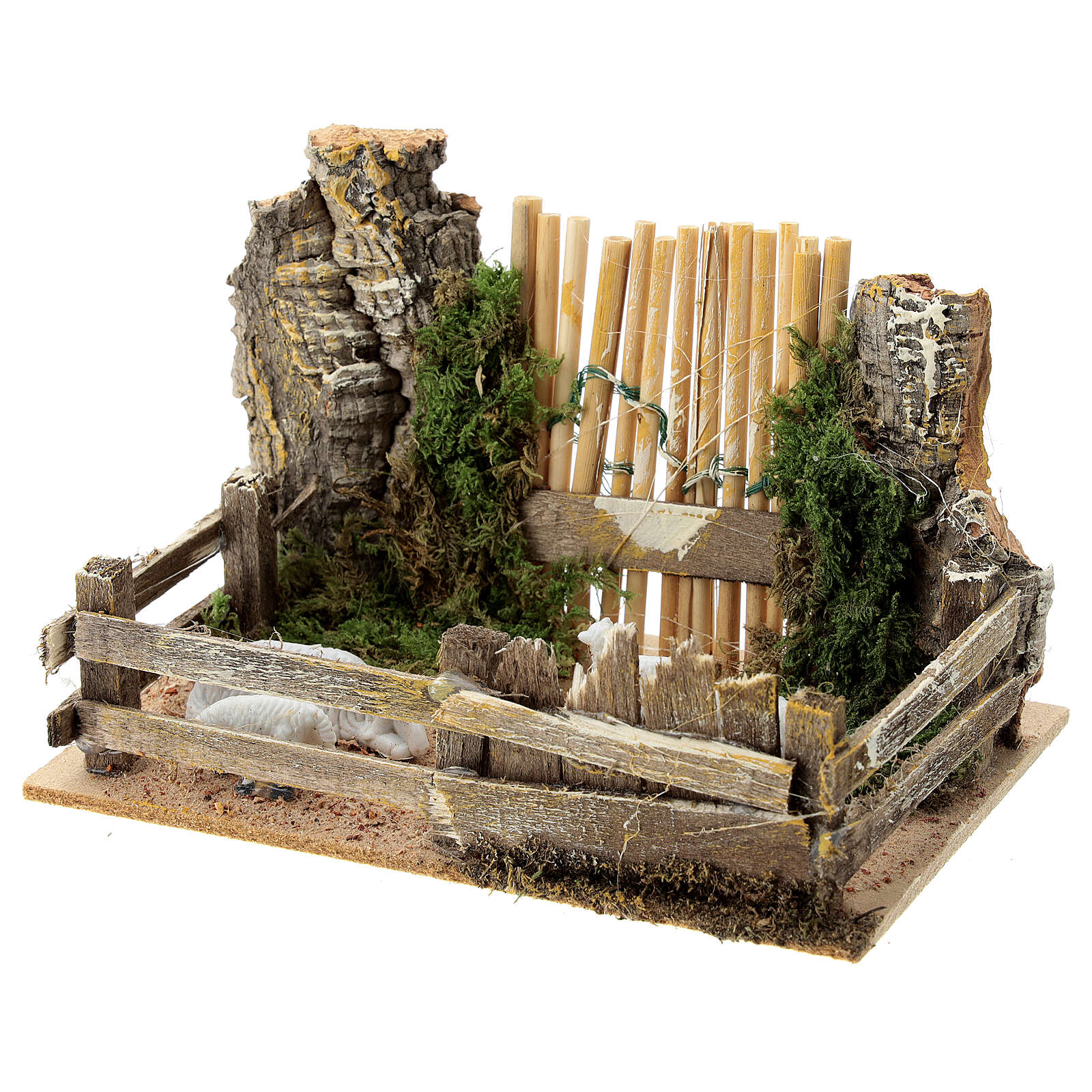 Recinto pecore legno sughero cancello 10x15x10 cm presepi 8 cm 4