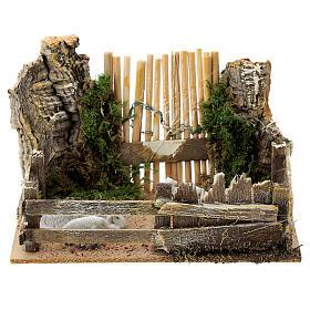 Recinto pecore legno sughero cancello 10x15x10 cm presepi 8 cm s1
