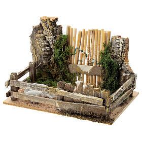 Recinto pecore legno sughero cancello 10x15x10 cm presepi 8 cm s2