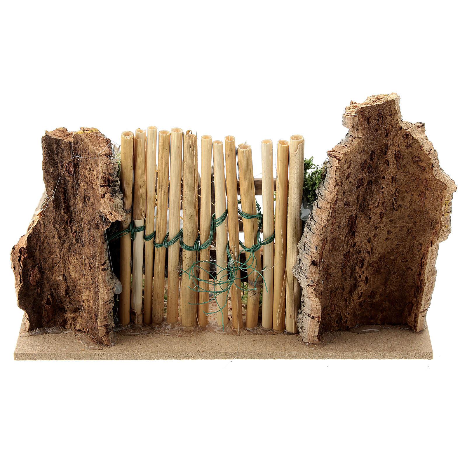 Sheep enclosure wood cork gate 10x15x10 cm, nativity set 8 cm 4