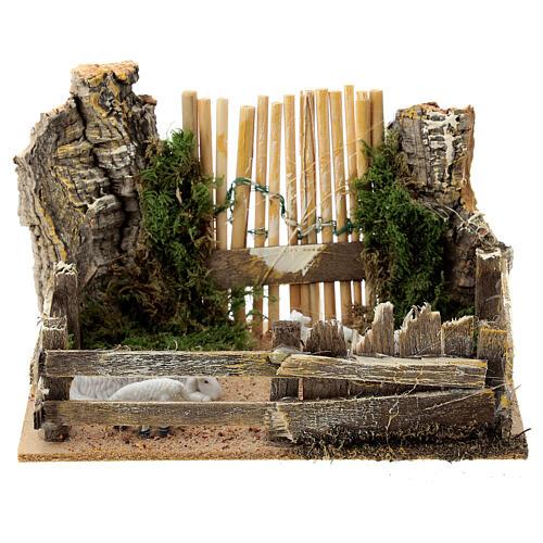Sheep enclosure wood cork gate 10x15x10 cm, nativity set 8 cm 1