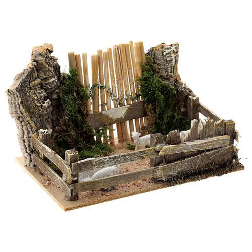 Sheep enclosure wood cork gate 10x15x10 cm, nativity set 8 cm 3