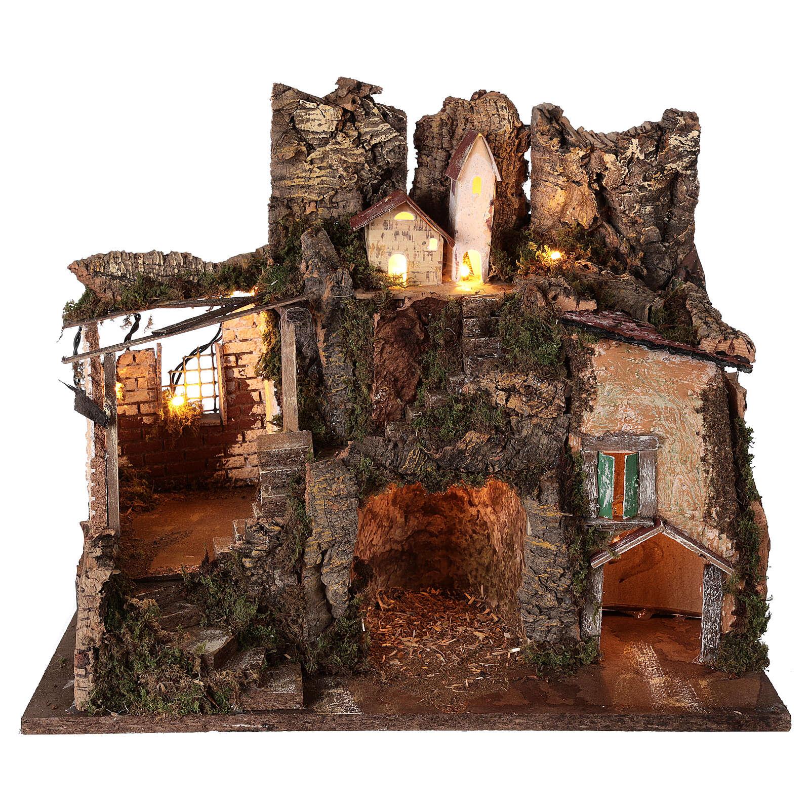 Village grotte Nativité 10 cm maisons montagne 40x45x30 cm 4