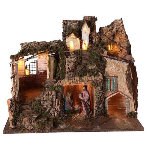 Village grotte Nativité 10 cm maisons montagne 40x45x30 cm 1