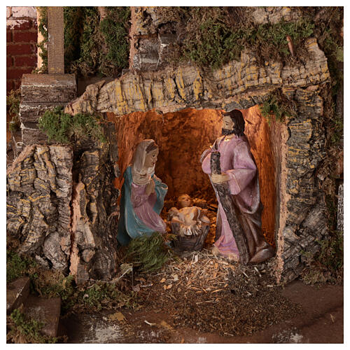 Village grotte Nativité 10 cm maisons montagne 40x45x30 cm 2