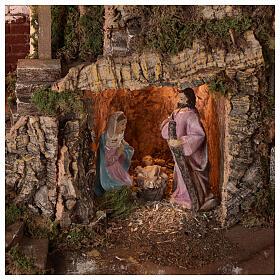 Borgo grotta Natività 10 cm casette montagna 40x45x30 s2