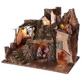 Borgo grotta Natività 10 cm casette montagna 40x45x30 s3