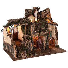 Borgo grotta Natività 10 cm casette montagna 40x45x30 s4