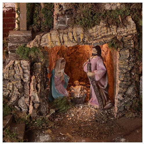 Borgo grotta Natività 10 cm casette montagna 40x45x30 2
