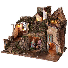 Village with stable 10 cm Holy Family houses mountain 40x45x30 cm s3