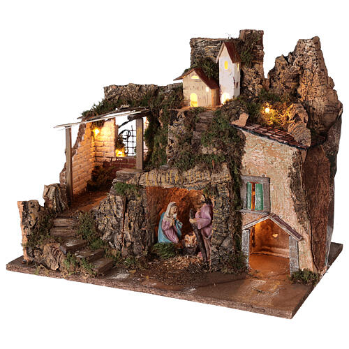 Village with stable 10 cm Holy Family houses mountain 40x45x30 cm 3