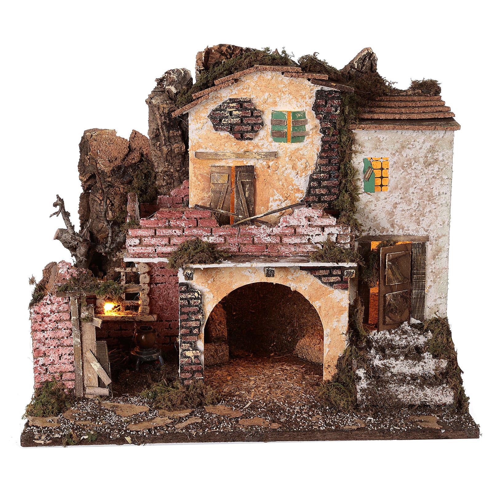 Village porche maçonnerie éclairage et feu 40x45x30 cm Nativité 10 cm 4