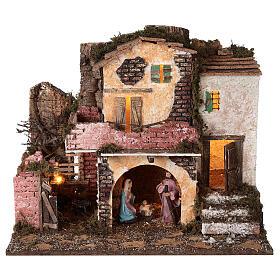 Village porche maçonnerie éclairage et feu 40x45x30 cm Nativité 10 cm s1