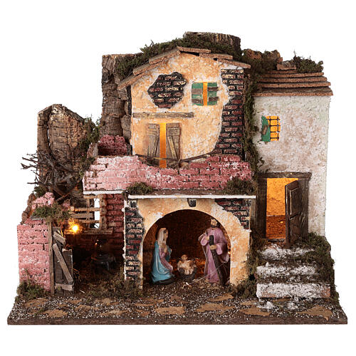Village porche maçonnerie éclairage et feu 40x45x30 cm Nativité 10 cm 1