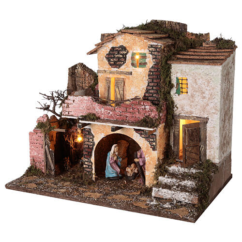 Village porche maçonnerie éclairage et feu 40x45x30 cm Nativité 10 cm 3