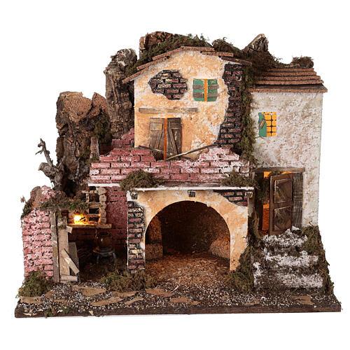 Village porche maçonnerie éclairage et feu 40x45x30 cm Nativité 10 cm 6