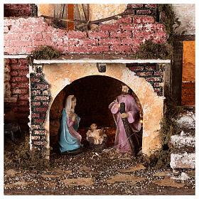 Borgo portico muratura luci e fuoco 40x45x30 cm Natività 10 cm s2