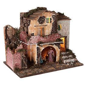 Borgo portico muratura luci e fuoco 40x45x30 cm Natività 10 cm s4