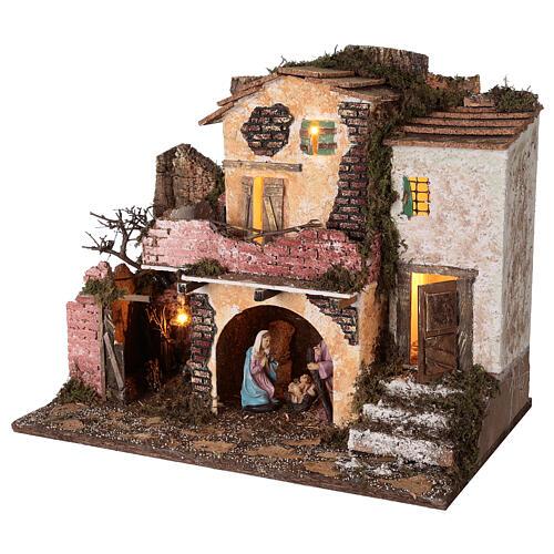Borgo portico muratura luci e fuoco 40x45x30 cm Natività 10 cm 3