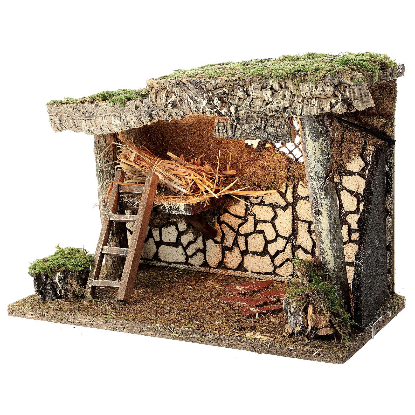 Cabane Nativité crèche fenil échelle 25x35x20 cm crèche 12-14 cm 4
