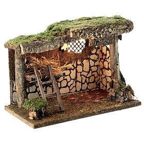 Cabane Nativité crèche fenil échelle 25x35x20 cm crèche 12-14 cm s3